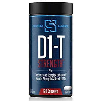 Siren Labs D1-T Strength Testosterone Booster for Men Mass Gainer with D-Aspartic Acid - Monster Muscle Mass-Building - Test Booster Suppression of Estrogen Anabolic Muscle Growth  120 Capsules