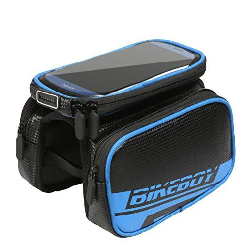 YUYAXBG Fashion Bike Frame Bag Fietstas Dubbele Rits Grote Capaciteit Hoofdtelefoon Gat Ontwerp Touch Screen Voor 6,2 Inch Mobiele Telefoon