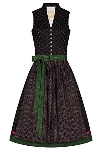 Moser Midi Dirndl 65er schwarz geblümt grün gepunktet Larissa 008327, Blumendruck, Retro-Schnitt mit Stehkragen, hochgeschlossenes Mieder, Trachtenknöpfe aus Metall 40