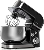 Robot de cocina, batidora eléctrica de 1000 W, 6 velocidades con cabezal basculante, cuenco de acero inoxidable de 3,7 QT, gancho para masa, batidor, protección contra salpicaduras.