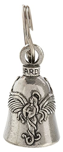 Guardian Bell Praying Angel with Halo and Wings Motorcycle Biker Luck Gremlin Riding Bell or Key Ring, Silver, 1.5 Inches