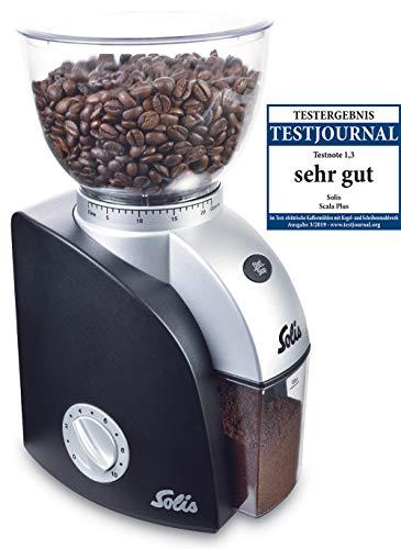 Solis Elektrische koffiemolen, 1 tot 10 kopjes, 13 maalstanden, antistatische inrichting, kegelmaalwerk 22 maalstanden. zwart
