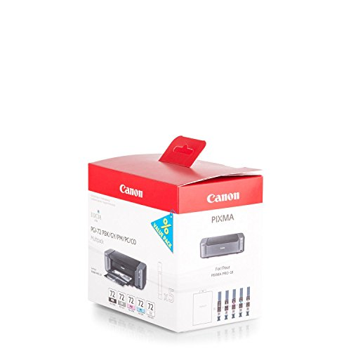 Original Canon 6403B007 / PGI-72, für Pixma Pro 10 5X Premium Drucker-Patrone, Schwarz, Grau, Foto Magenta, Foto Cyan, CHO, 5 x 14 ml