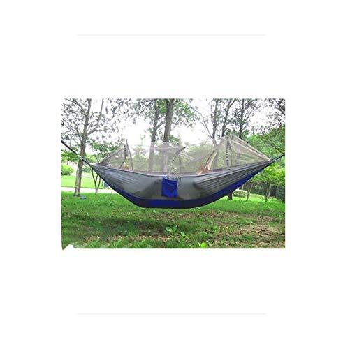 Eileen Ford Toldo de Cama Neto |250x130cm Portátil al Aire Libre Doble Anti Insectos Camping Supervivencia Resistente al Desgaste Malla de paracaídas Columpio con mosquitera Hamaca-Gris Azul-