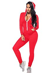 Long Sleeve Bodycon Front Zipper Hooded Long Pants Sexy Rompers Playsuits