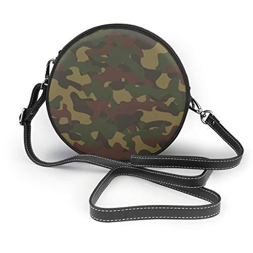 Umhängetaschen Damen runde Taschen Army Camouflage Crossbody Leder Circle Bag