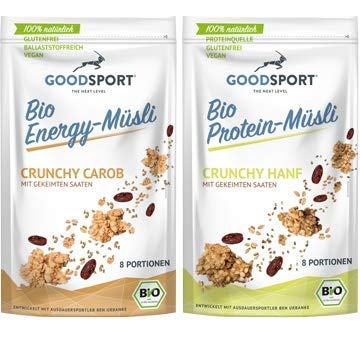 Probierpaket gekeimtes Müsli BIO Crunchy Carob + Crunchy Hanf, 2x400g, vegan, glutenfrei, gekeimter Buchweizen, Haferflocken, Hanfprotein, Lucuma
