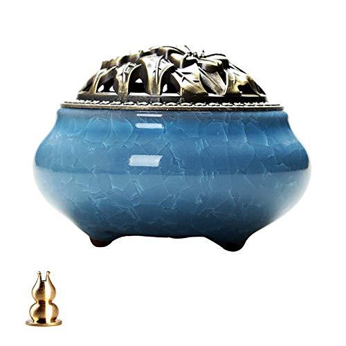 Clarashop Keramik-Räuchergefäß,Chinesische Tragbare Porzellan Räucherstäbchenhalter Brenner Keramik Aschenfänger Schale mit Messing Calabash Räucherstäbchenhalter Spule