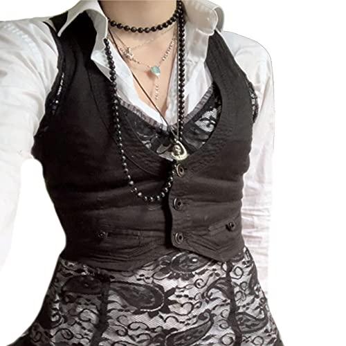 Koitniecer Chaleco Elegante para Mujer Chaleco Y2k Chaleco Slim Fit Botón Halter Esmoquin con Cuello en V Traje Chaqueta con Espalda Cruzada de los años 90 (Black, Large)