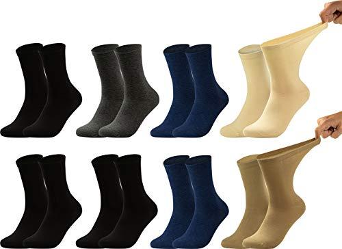 Vitasox 11120134 Damen Gesundheitssocken extra weiter Bund ohne Gummi, Venenfreundliche Socken mit breitem Schaft verhindern Einschneiden & Drücken, 8 Paar Schwarz Anthrazit Marine Natur-Töne 39/42
