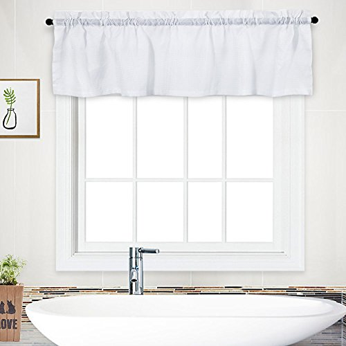 """NANAN Curtain Valance,Waffle Weave Waterproof Window Valance for Bathroom,Rod Pocket Tailored Kitchen Valance Curtain Cafe Curtains - 60"""" x 15"""", White, One Panel"""