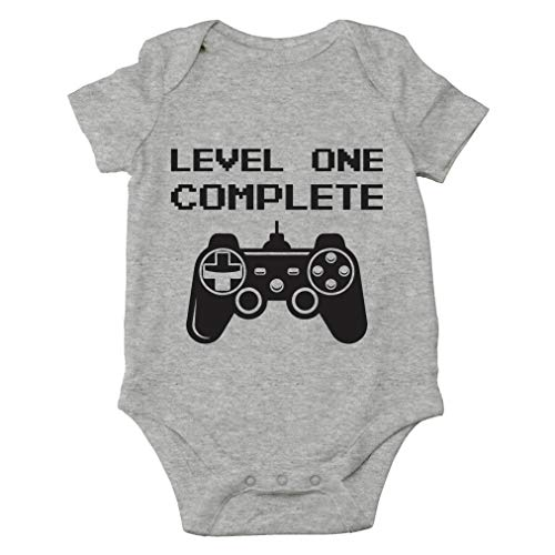 Level One Complete - My Daddy Is A Gamer - Its My First Birthday - Cute One-Piece Infant Baby Bodysuit (12 Months, Sports Grey)