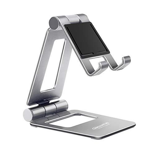 Glazataアルミ製スマホ/タブレット用スタンド折り畳み式270°自由調整可能デスクトップスタンドスマホタブレットシルバー