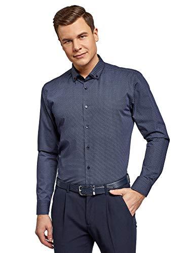 oodji Ultra Herren Hemd mit Druck und Doppelkragen, Blau, 37