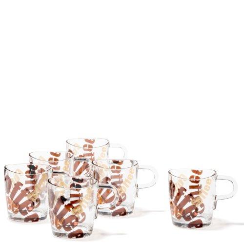 Leonardo Tasse Loop, Kaffee-Becher im modernen Stil, Trink-Glas mit 3-farbigem Aufdruck, 260-ml Füllmenge, 6-teilig, 089343