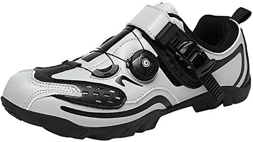 KUXUAN Zapatillas de Ciclismo Hombre Mujer Zapatillas de Ciclismo de Carretera sin candados Zapatillas de Ciclismo de montaña Ligeras y Transpirables,Grey-36EU