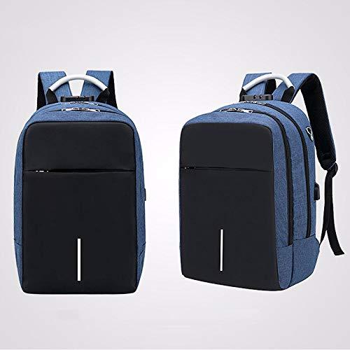 Ys-s Shop customization Men Boys Backpack Rucksack With USB Port Headphone Hole Travel Hiking School (Color : Blue)