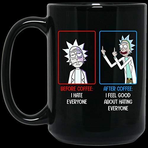 Regalo divertido de la taza de café de la Navidad de Halloween 11oz Rick Before Coffee I Hate Everyone Taza de café de cerámica
