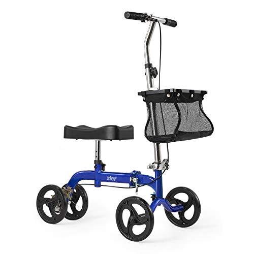 Zler Knee Scooter, Deluxe Steerable Knee Walker Knee Scooter Knee Cycle Leg Walker Crutch Alternative Blue