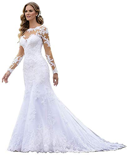 Women's Mermaid Lace Appliques Chiffon Wedding Dresses Long Sleeve Bridal Prom Gown with Pleated Bodice Ivory Size 4 (Apparel)
