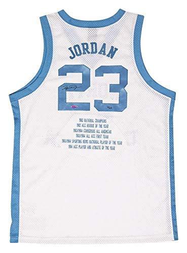 MICHAEL JORDAN Autographed UNC White Emb. Stat Nike Authentic Jersey UDA LE 3/23