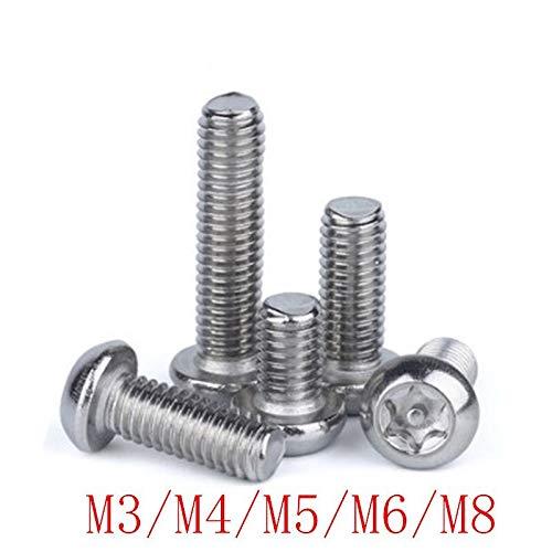 VCX Botón de Seguridad Tornillo M3 M4 M5 M6 M8 Acero Inoxidable A2 Cabeza Torx a Prueba de manipulaciones Tornillos Tornillo de Seguridad (Length : 6mm, Size : M8 2PCS)