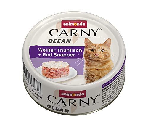 animonda Carny Ocean Katzenfutter, Nassfutter für Katzen, Weißer Thunfisch + Red Snapper, 12 x 80 g
