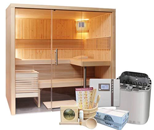 Well Solutions Sauna Panorama Small mit Bi-o Saunaofen Scandia Combi Next, Steuerung Econ H2 und Zubehörset