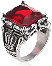 Vintage Crystal Ring with Red Crystal Stainless Steel Size 8