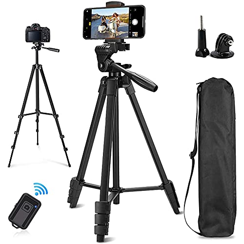 Phone Tripod, sumcoo 53' Extendable Aluminum Travel Tripod for Phone and Camera with Bluetooth Remote Shutter and Phone Clip, Compatible with iPhone & Android Phone