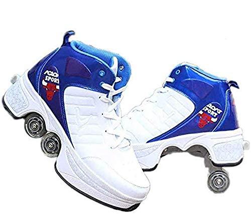 HIMFL Patines 2 en 1 Zapatos de polea Multifuncional Deformación Patinaje sobre Ruedas Patinaje en Quad Deportes al Aire Libre para Adultos Niño,42