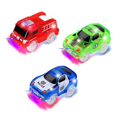 3 piezas Track Race Car (1 * coche de policía, 1 * coche de carreras, 1 * coche de camión de...