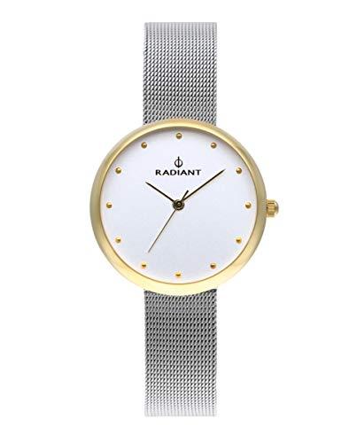 Reloj analógico para Mujer de Radiant. Colección Gimli. Reloj Bicolor Dorado y Plateado con Malla milanesa y Esfera Blanca. 3ATM. 34mm. Referencia RA523603.