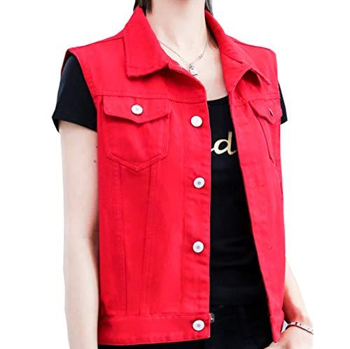 Flairstar Damen Jeansjacke Damen Jeansweste Rot Mit Geknöpftem Umlegekragen Ärmellos Damen Freizeitoberteile Brusttaschen