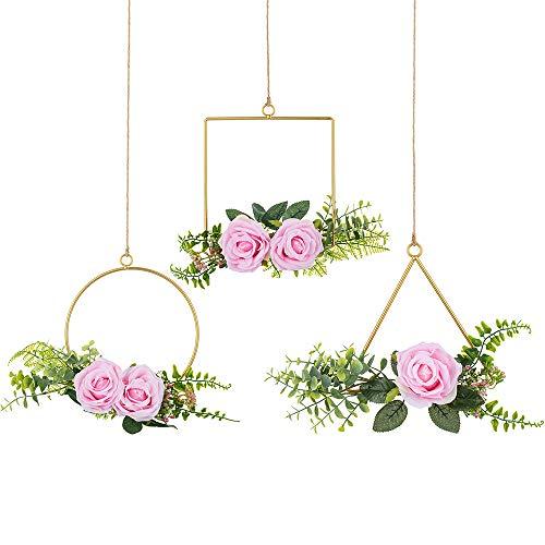 Sziqiqi Piezas de 3 Metal Geométrico Anillos de aro Florales Coronas de Flores, Artificiales Guirnalda de Eucalipto Bodas, Decoración Fondo de la Boda Guardería Baby Shower, Rosado