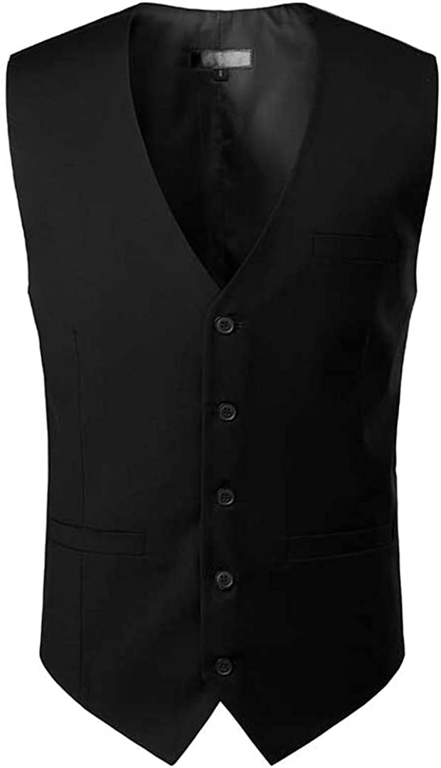 Ciystekn Royal Blue Mens Dress Suit Vest 2021 New Sleeveless Vests Waistcoat Men Formal Business Wedding Vests Male Gilet Homme Black US Size M