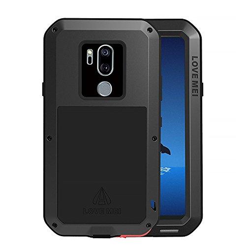 Feitenn Case for LG G7 / LG G7 ThinQ, Armor Aluminum Alloy Cover Heavy Duty Gorilla Glass Rubber Waterproof Shockproof 360 Protective Military Outdoor Men Bumper Defender for LG G7 2018 - Black