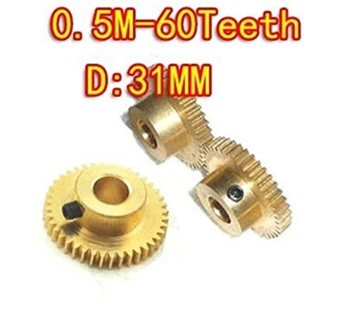 Without brand SY-CHLSE, 3pcs / Set 0,5M-60Teeth Convex Messing Kupfer Precision Micro Motor Convex Gear - Loch D: 5 mm