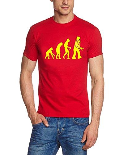 Coole-Fun-T-Shirts Herren T-Shirt Robot Evolution Big Bang Theory!, rot-gelb, M, 10845