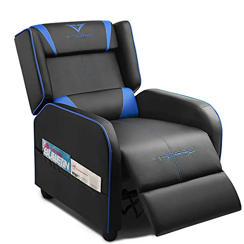 Vit kids recliner, gaming recliner chair w/footrest, headrest, lumbar support & side pockets, ergonomic leather lounge chair for living & gaming room, adjustable recliner sofa for boys girls, blue