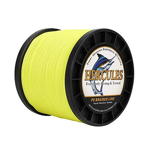HERCULES Geflochtene Angelschnur 4fach 2000M Dm: 0,16mm Fluoreszierendes Gelb (Fluorescent Yellow) 15LB (6,8KG) Tragkraft