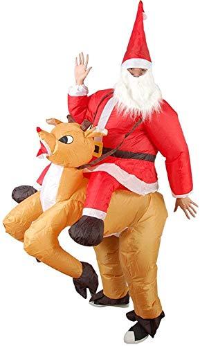 Wolong Navidad Papá Noel Inflable Elk Traje de la Navidad del Traje de Cosplay de Santa Reno Jinete Juego del...