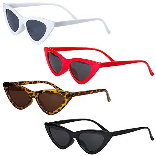 Haichen Retro Vintage Schmale Cateye Sonnenbrille für Frauen Clout Brille Kunststoffrahmen Gläser (A)