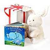 """Baby GUND Flora The Bunny Animated Plush Stuffed Animal Toy, Cream, 12"""", With """"If Animals Kissed Good Night"""" Baby Book . Free Gift Box Included. For Baby Gifts, Birthday, Holidays And Baby Shower."""