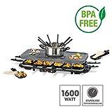 GOURMETmaxx Raclette Grill für 2 bis 12 Personen   Tischgrill Elektrisch mit Fondue Topf, Raclette Elektrogrill mit umfangreichem Zubehör   1600 Watt [Granit]