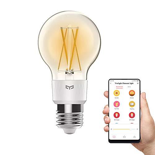 Luce a incandescenza calda Yeelight, lampadina Edison LED Smart LED da 6W dimmerabile 2700K, lavoro con Homekit, Mi casa, controllo vocale Alexa (Singolo)
