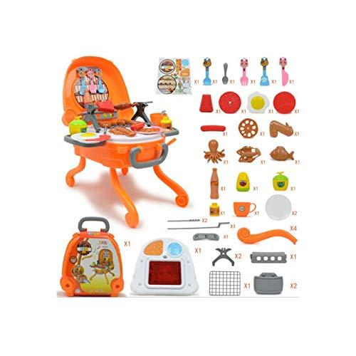 amezing hobby ままごと キッチン セット 台所 おもちゃ ごっこ遊び クッキング トイ バーベキュー 知育玩具 組立式 鍋 お皿 フライパン フライ返し 食器 調理器具 選べる サイズ カラー (マルチカラー, バーベキュー)