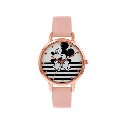 Disney Damen Datum klassisch Quarz Uhr mit Leder Armband MK5087