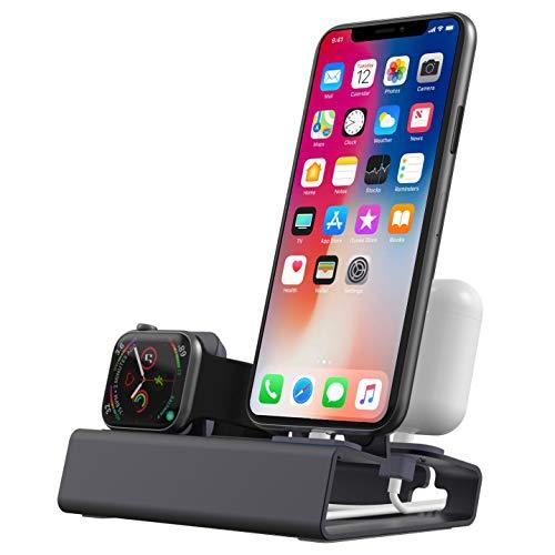 Aluminium Ladestation Ständer für iPhone Airpods Apple Watch Series SE Series 6 Series 5 4 3 2 1 , 3 in 1 iWatch Docking-Station Halterung für 44mm 40mm 42mm 38mm NightStand Mode - Kein Ladegerät