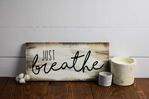 Modtory Just Breathe, decoración de yoga, decoración del hogar, decoración de gimnasio, decoración de oficina, signo envejecido, cita inspiradora, letrero de madera para decoración del hogar, galería de arte de pared